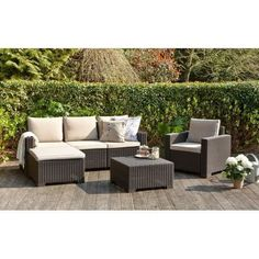 Salon de jardin moorea 4 pieces aspect rotin Allibert Jardin | La Redoute