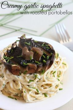 Creamy Garlic Spaghetti with Roasted Portobello Mushrooms
