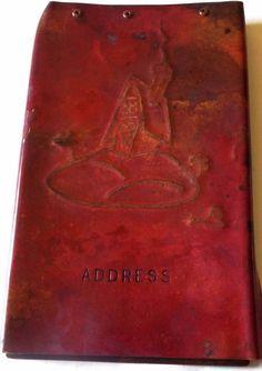 VINTAGE ANTIQUE COPPER METALWARE ART ADDRESS BOOK COVER UNUSUAL HOUSE