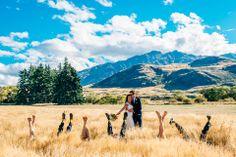 A creative and fun bridal party photo in Wanaka, New Zealand at Glendhu Station.   #weddingphotography #mountainwedding #bridalparty #bridalpartyphoto #rusticwedding #weddingphotographer #internationalwedding #internationalweddingphotographer #wanaka #glendhustation #newzealand #destinationwedding #destinationweddingphotographer #artisticweddingphotography #bridesmaiddress #weddingdress #groom