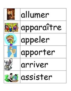 Les Verbes - illustrated word wall of French verbs