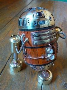 "Artist ameobabloke created a lovely ""antique R2D2″ droid:"