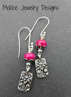 Pink stone, Lotus flower sterling silver earrings. Small earrings.