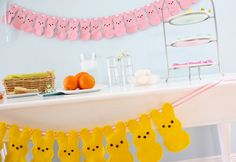 Make adorable Peep bunting and 45 BEST Spring Party & Decor Tutorials EVER with their LINKS!!! GIFT, PARTY, EVENT, SPRING, WEDDING DECOR. Blog & Photos from MrsPollyRogers.com