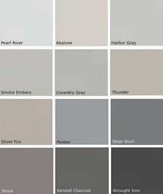Benjamin Moore-like this palate for our bedroom-especially coventry gray or thunder