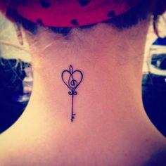 #music #musictattoo #key #keytattoo #smalltattoo #heart #lovetattoo #lovemusic #tattoo #tattooinspiration #inspiration #necktattoo #inkt #followforfollow #follow4follow