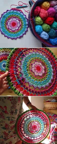 Crochet Tutorial Ideas Crochet Mandala Dream Catcher Ideas - You will love this selection of Crochet Mandala Dream Catcher Ideas and there is something for everyone. We also have a video tutorial to show you how. Crochet Home, Love Crochet, Crochet Crafts, Yarn Crafts, Crochet Projects, Knit Crochet, Crochet Mandala Pattern, Crochet Doilies, Crochet Stitches