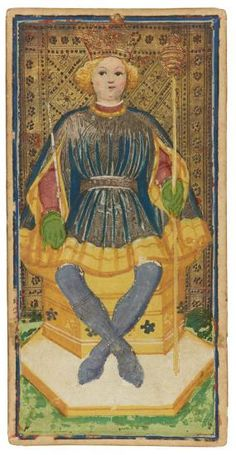 The King of Staves  | Visconti-Sforza Tarot Cards | 1450-1480 | Morgan Library & Museum | Museum #: MS M.630 (no. 1)
