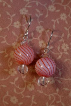 My mom's lovely balls:  Pink Glass Globe crystal and sterling earrings by Foresthollow, $38.00