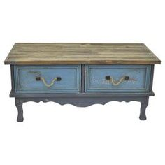 "Featuring a scalloped apron and charming rope handles, this distressed wood cabinet brings country-chic style to your home library or master suite.  Product: CabinetConstruction Material: Wood and ropeColor: Distressed blue and greyFeatures:  Rope handlesTwo drawersScalloped apronDimensions: 18.5"" H x 38.58"" W x 17.5"" D"
