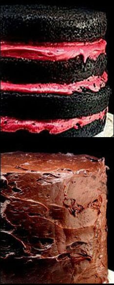 Fudgy and Moist One Bowl Dark Chocolate Cake Recipe, and the Most Amazing Fresh Raspberry Buttercream and fudge frosting. No Food Color - All Natural.