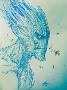 """ Five minutes sketch"" ""Groot"""