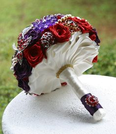 Purple and red wedding brooch bouquet Orchid Bridal Bouquets, Wedding Brooch Bouquets, Red Purple Wedding, Floral Wedding, Destination Wedding, Wedding Planning, Autumn Wedding, Wedding Inspiration, Wedding Ideas