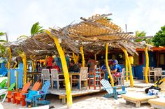 Jibe City Hang Out Beach Bar, Bonaire. A one-stop shop for all the colours of the Caribbean!