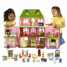 Maybe this doll house for my girls?  The set seems like a good deal since they charge like $20-30 for each set of room furniture if sold separately.