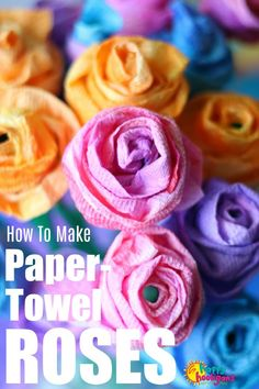 How To Make Paper Towel Roses – Happy Hooligans - Crafts for Kids Paper Towel Crafts, Paper Crafts For Kids, Crafts For Kids To Make, How To Make Paper, Art For Kids, Paper Towels, Diy Paper, Rose Crafts, Flower Crafts