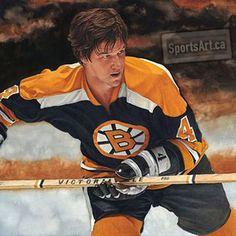 Bobby Orr, painted by Glen Green Jets Hockey, Ice Hockey Teams, Bruins Hockey, Hockey Players, Hockey Stuff, Sports Painting, Bobby Orr, Boston Sports, Vancouver Canucks