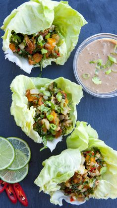 Lettuce Wraps with Grilled Apricots and Thai Herbs | If eating healthy, nutricious meals is one of your new year's resolutions, this dish is for you. This is a delicious and light vegetable recipe to pair with your grilled dishes. We are grilling stone fruit to concentrate the sweetness and adding refreshing flavors of Thai herbs to create an appetizing start or side dish to your summer meal.