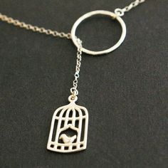 Sweet Birdcage Sterling Silver Lariat Necklace NEW by luxedeluxe, $39.00