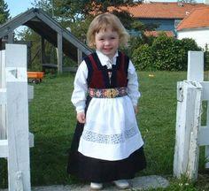 Cute little girl in Norwegian bunad.