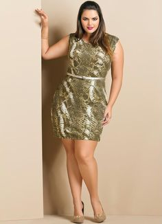 Vestido Curto com Estampa de Cobra Plus Size - Quintess