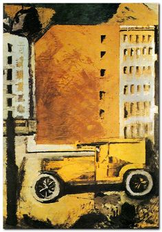 Mario Sironi, Il camion giallo, 1918 Mario Sironi was born in Sassari on the island of Sardinia, but spent his childhood in. Gino Severini, Alberto Moravia, Desert Places, Cities In Italy, Modern Metropolis, Italian Painters, Urban Life, Urban Landscape, Art Studios