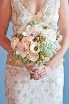 Claire Pettibone Windsor Rose Collection feat. in @Style Me Pretty - CP 'Deauville' gown - Photo: Natalyia Studios - Floral: Lilla Bello Studio