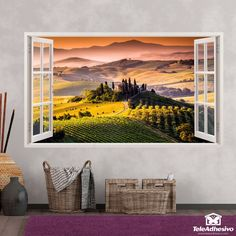 This trompe l'oeil will simulate an open panoramic window on your wall. Wall Stickers Window, Photo Mural, Vinyl Paper, Open Window, Adhesive Vinyl, Textured Walls, Art Photography, Panorama, Windows