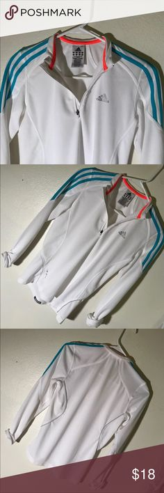 "Adidas Response White Dri-Fit 1/4 Zip Small Adidas white light 1/4 zip with neon blue and orange accents.  Great condition. Comfortable and airy. Also extremely lightweight. Good for all seasons. Small dri-fit. ""Formation/ Adidas Response"" 95% Polyester 5% Recycled Polyester. adidas Tops Sweatshirts & Hoodies"
