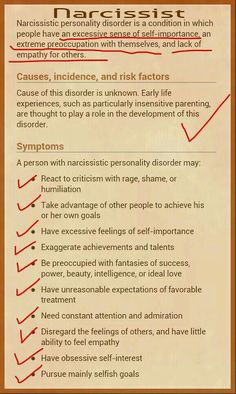 Narcissistic Personality Disorder.  Wow!!!  I know a whole family with this problem, I didn't know there was a name for it!!!