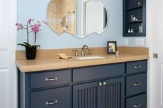 Blue painted bathroom cabinets.
