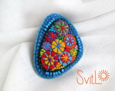 Oval felt brooch Purple Violet Christmas fireworks  Perfect gift for the spring holidays.  Original Easter gift.  Cute brooch, which will bring good luck and complement the unique image of its owner. The brooch looks great on sweater, jacket, scarf, hat or purse. Be creative! Make your outfit unique and irresistible!  Hand embroidered. Hand applique. French knot.Beadwork. Felt brooch based on filz imparting a convex shape and density. Safety pin on the back side.  Jewelry with a soul…