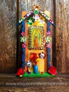 Virgin Guadalupe Miniature Nicho / Folk Art Catholic Shrine / Day-of-the-Dead Altar / Dia de los Muertos Decor / La Virgen Guadalupe