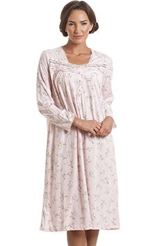 Camille Classic Womens Ladies Pink Floral Long Sleeve Nightdress 1416 PINK  -- Click image for dfa6ce7e8