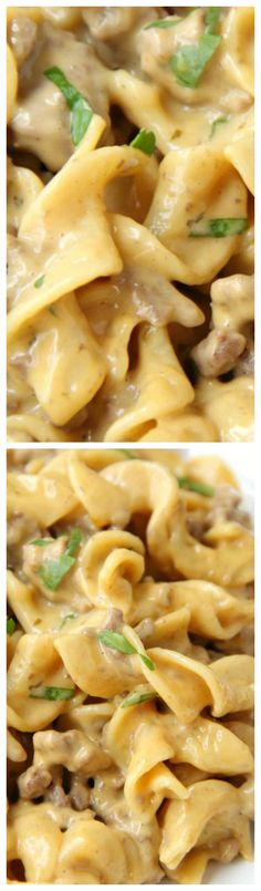 Easy Beef Stroganoff ~ A cheesy and delicious one pan meal that comes together in well under 30 minutes!