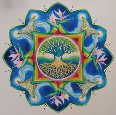Personal Mandala Painting for Sue by Susan St Thomas Mandala Drawing, Mandala Painting, Mystic Symbols, St Thomas, Flower Of Life, Patterns In Nature, Mural Art, Sacred Geometry, Art Lessons