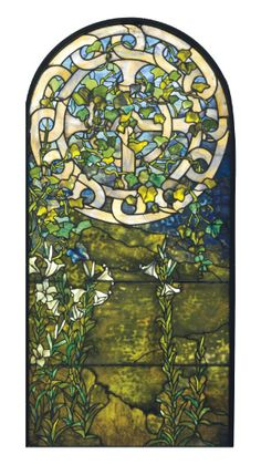 TIFFANY STUDIOS   A Leaded Glass Window, circa 1910   65¼ x 31 in. (165.7 x 78.7 cm.)