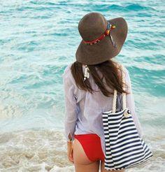 Hat Attack Striped Beach Tote