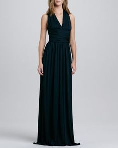 T6LV0 Halston Heritage Cross-Back Jersey Gown