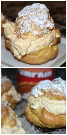 Pumpkin Cream Puffs 1 c. heavy cream⅓ c. pumpkin T. Köstliche Desserts, Delicious Desserts, Dessert Recipes, Yummy Food, Dessert Food, Health Desserts, Dinner Recipes, Pumpkin Recipes, Fall Recipes