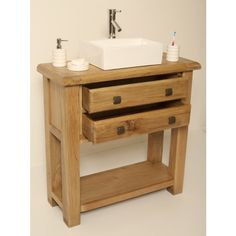 Ohio Rustic Oak Bathroom Vanity Cabinet
