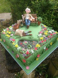 Square garden cake. Pond