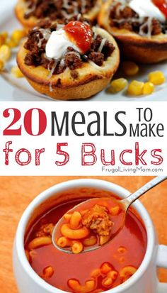 Are you trying to save money on your food budget? Here are 20 cheap meals, the . Cheap Easy Meals, Inexpensive Meals, Cheap Dinners, Frugal Meals, Cheap Food, Frugal Recipes, Family Recipes, Cheap Meals On A Budget Families, Super Cheap Meals