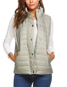 Beyove Womens Casual Zip Up Solid Slim Winter Outdoor Puffer Vest light grey M * Learn more by visiting the image link. (This is an affiliate link)