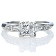 New York, NY Jewelry, engagement rings - Leigh Jay Nacht - Replica Art Deco Engagement Ring - 2647-04