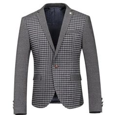 Casual Slim Fit Single Button Plaid Seam Pocket Long Sleeves Blazer For Cheap Suits, Blazers For Men, Men's Collection, Menswear, Plaid, Mens Fashion, Stylish, Long Sleeve, Moda Masculina