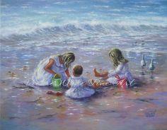 Three Beach Girls Art Print beach children by VickieWadeFineArt, $26.00