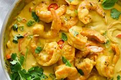 "Shrimp In Thai Coconut Sauce - ""Coconut milk flavored with peanut butter makes a classic Thai-inspired, creamy sauce for bell peppers and sautéed shrimp for an easy dinner any night of the week. Fish Recipes, Seafood Recipes, Dinner Recipes, Cooking Recipes, Healthy Recipes, Thai Prawn Recipes, Healthy Thai Food, Thai Food Recipes Easy, Easy Asian Recipes"