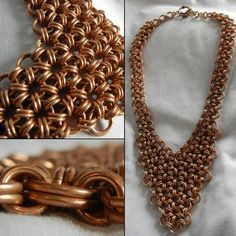 Chain Maille Necklace in Japanese 12 in 2 V-Neck, Bronze chainmaille--Interesting use of this weave.
