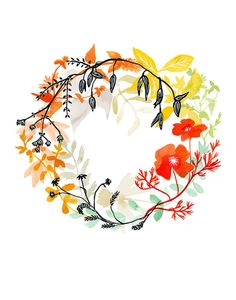 Happiness Wreath Print by KatieVernon on Etsy